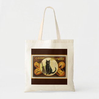 A Merry Halloween Vintage Black Cat and Pumpkins Tote Bag
