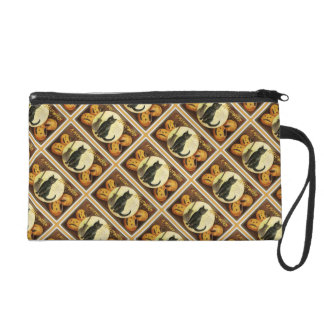 A Merry Halloween Vintage Black Cat and Pumpkins Wristlet