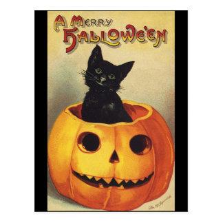 A Merry Halloween, Vintage Black Cat in Pumpkin Postcard