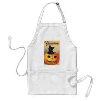 A Merry Halloween, Vintage Black Cat in Pumpkin Standard Apron
