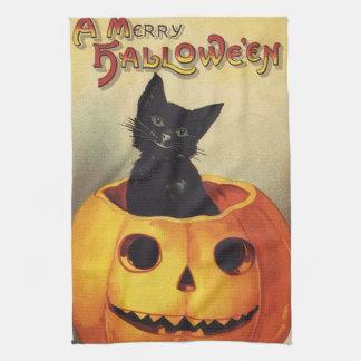 A Merry Halloween, Vintage Black Cat in Pumpkin Tea Towel