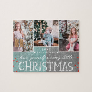 A Merry Little Christmas Family Photo Collage Jigsaw Puzzle