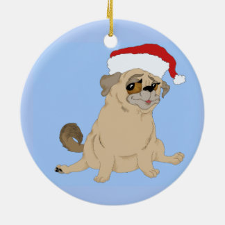 A Merry Pug Christmas Ceramic Ornament