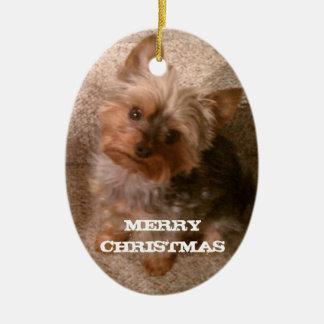 A Merry Yorkie Christmas Ceramic Ornament