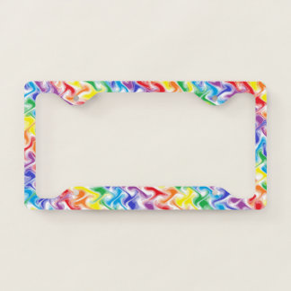 A Messy Rainbow Licence Plate Frame