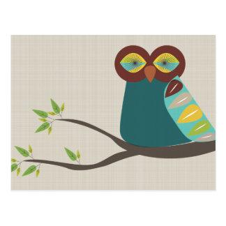 A Mid Century Modern Owl Postcard
