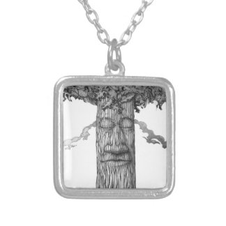 A Mighty Tree Cover &W Silver Plated Necklace