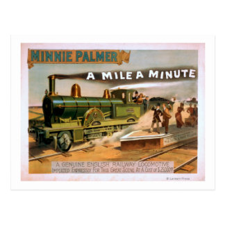 A Mile a Minute Big Locomotive Train Theatre Post Cards