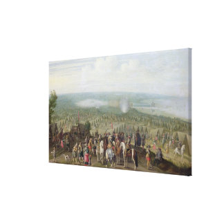A Military Encampment with Militia on Horses, Troo Stretched Canvas Prints