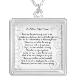 A Military Wifes prayer Silver Plated Necklace