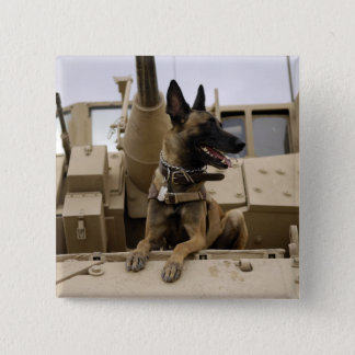 A military working dog sits on a M2A3 15 Cm Square Badge