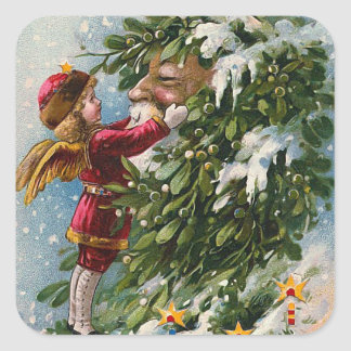 """A Mistletoe Kiss for Santa"" Square Sticker"
