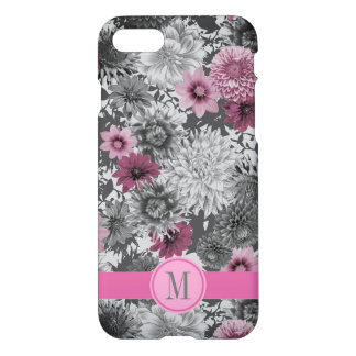 A modern bright pink and grey photographic floral iPhone 8/7 case