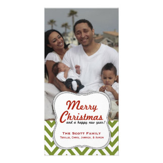 A Modern Green Chevron Family Photo Christmas Card