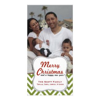 A Modern Green Chevron Family Photo Christmas Photo Cards