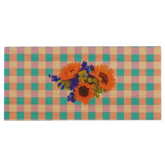 A Modern Pink Teal Checkered Sun Flower Pattern Wood USB 2.0 Flash Drive