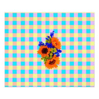 A Modern Pink Teal Checkered Sun Flower Pattern Photo Art