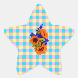 A Modern Pink Teal Checkered Sun Flower Pattern Stickers