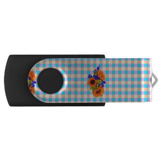 A Modern Pink Teal Checkered Sun Flower Pattern Swivel USB 2.0 Flash Drive