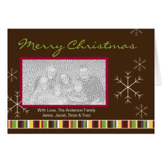 A Modern Plum & Chocolate Photo Christmas Card