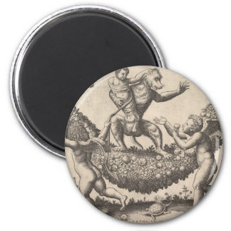 A monkey holding a bound putto standing on a garla 6 cm round magnet