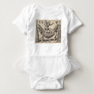 A monkey holding a bound putto standing on a garla baby bodysuit