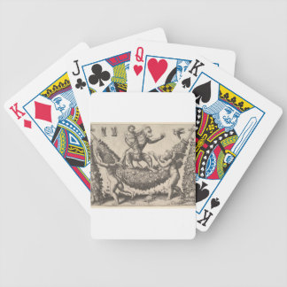 A monkey holding a bound putto standing on a garla bicycle playing cards