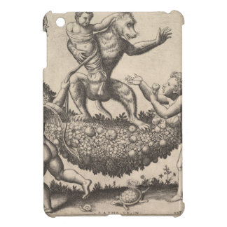 A monkey holding a bound putto standing on a garla cover for the iPad mini