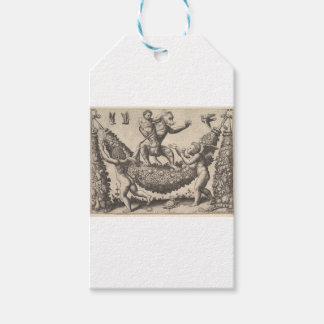 A monkey holding a bound putto standing on a garla gift tags