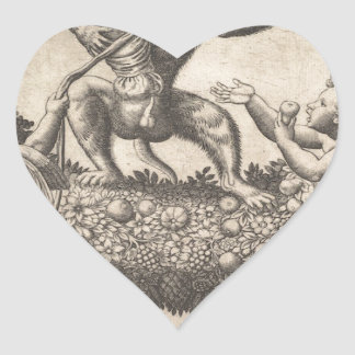 A monkey holding a bound putto standing on a garla heart sticker