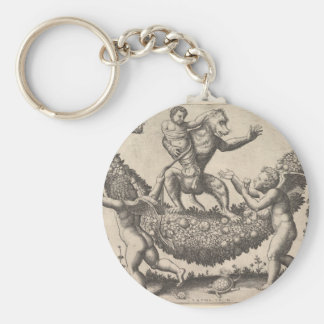 A monkey holding a bound putto standing on a garla key ring