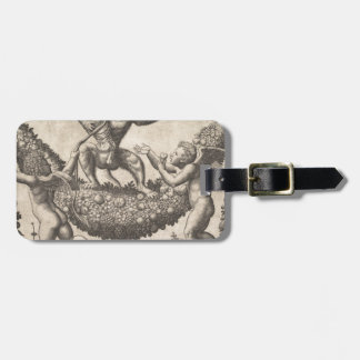 A monkey holding a bound putto standing on a garla luggage tag