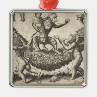A monkey holding a bound putto standing on a garla metal ornament