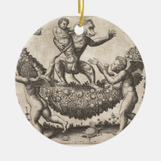 A monkey holding a bound putto standing on a garla round ceramic decoration