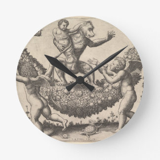A monkey holding a bound putto standing on a garla round clock