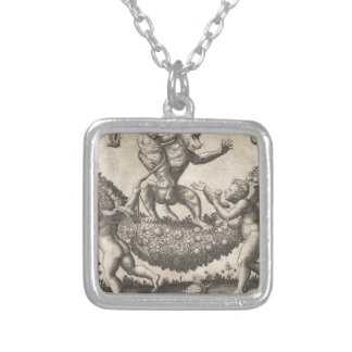 A monkey holding a bound putto standing on a garla silver plated necklace
