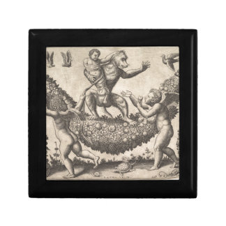 A monkey holding a bound putto standing on a garla small square gift box