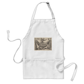 A monkey holding a bound putto standing on a garla standard apron
