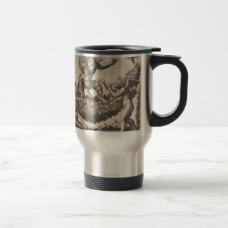 A monkey holding a bound putto standing on a garla travel mug