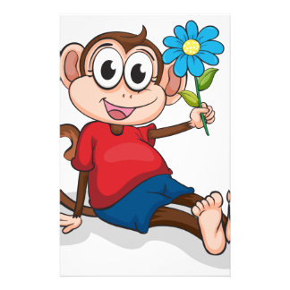 A monkey with a blue flower stationery