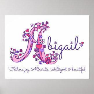 A monogram art Abigail girls name meaning poster