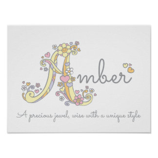 A monogram art Amber girls name meaning poster
