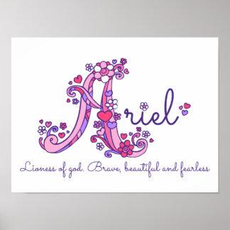 A monogram art Ariel girls name meaning poster