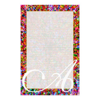 "A Monogram ""Colorful Bubbles"" Fine Lined Stationery"