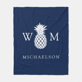 A Monogram Pineapple Fleece Blanket
