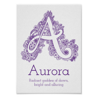 A monogram tangle art Aurora name meaning Poster