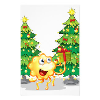 A monster near the two green christmas trees customised stationery