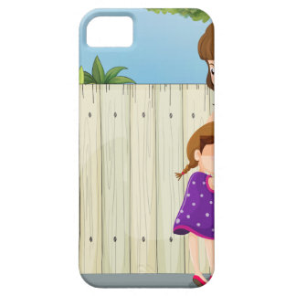A mother and her daughter near the fence at the ro iPhone 5 covers