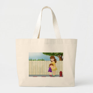 A mother and her daughter near the fence at the ro jumbo tote bag