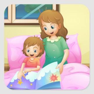 A mother reading with her daughter square sticker
